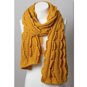 Mustard Scalloped Scarf Women Knit Ruffle Wrap NWT
